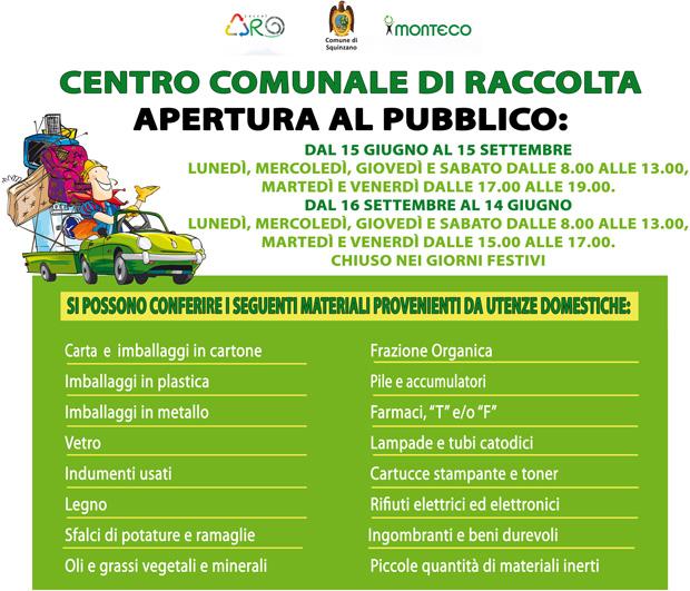 Squinzano. Dal 29 novembre p.v. sarà aperto il Centro Comunale di Raccolta