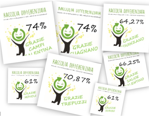 Dati raccolta differenziata a novembre 2017 nei comuni dell'ARO LE/1