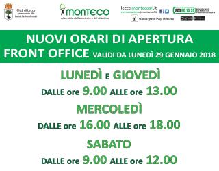 LECCE. NUOVI ORARI DI APERTURA FRONT OFFICE