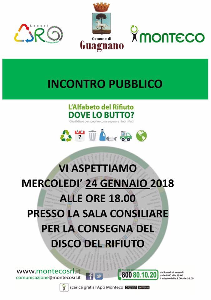 Guagnano: incontro pubblico informativo e distribuzione del Disco Orario del Rifiuto
