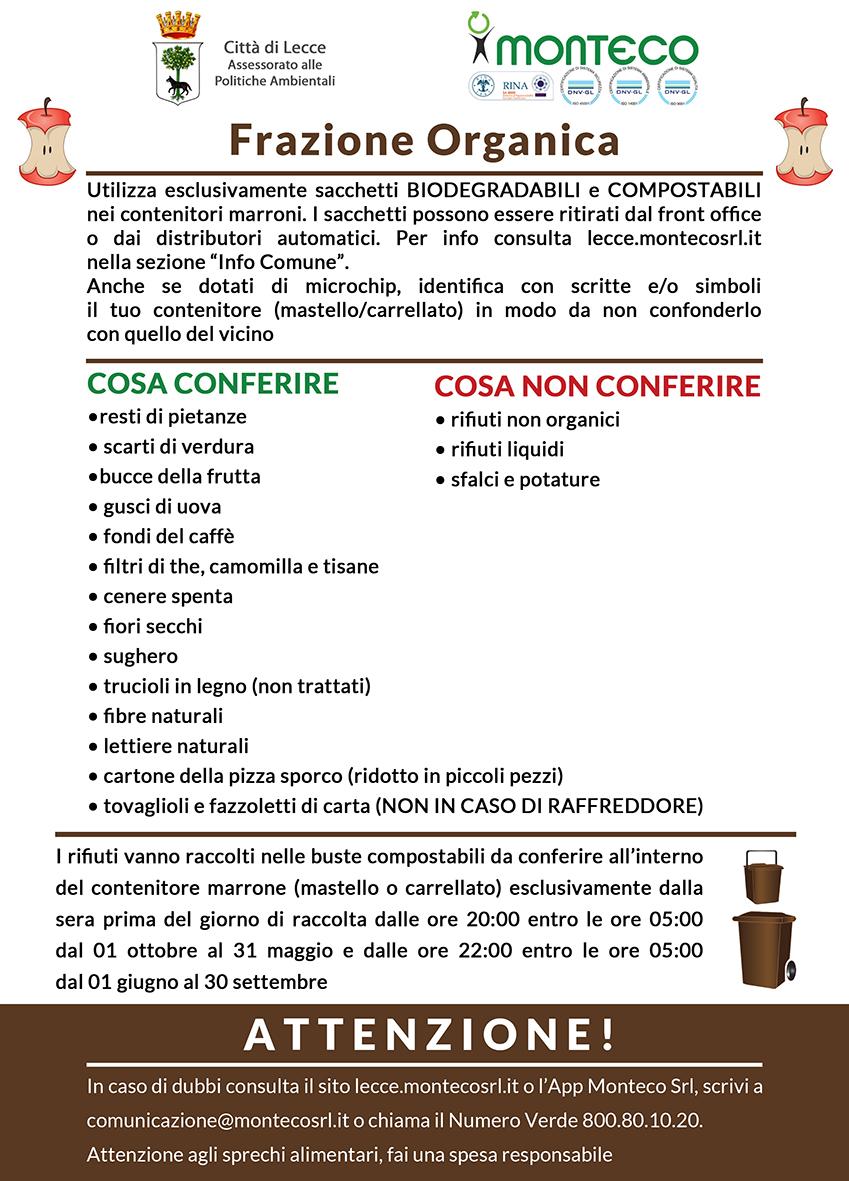 Lecce. Corretta raccolta differenziata della frazione organica