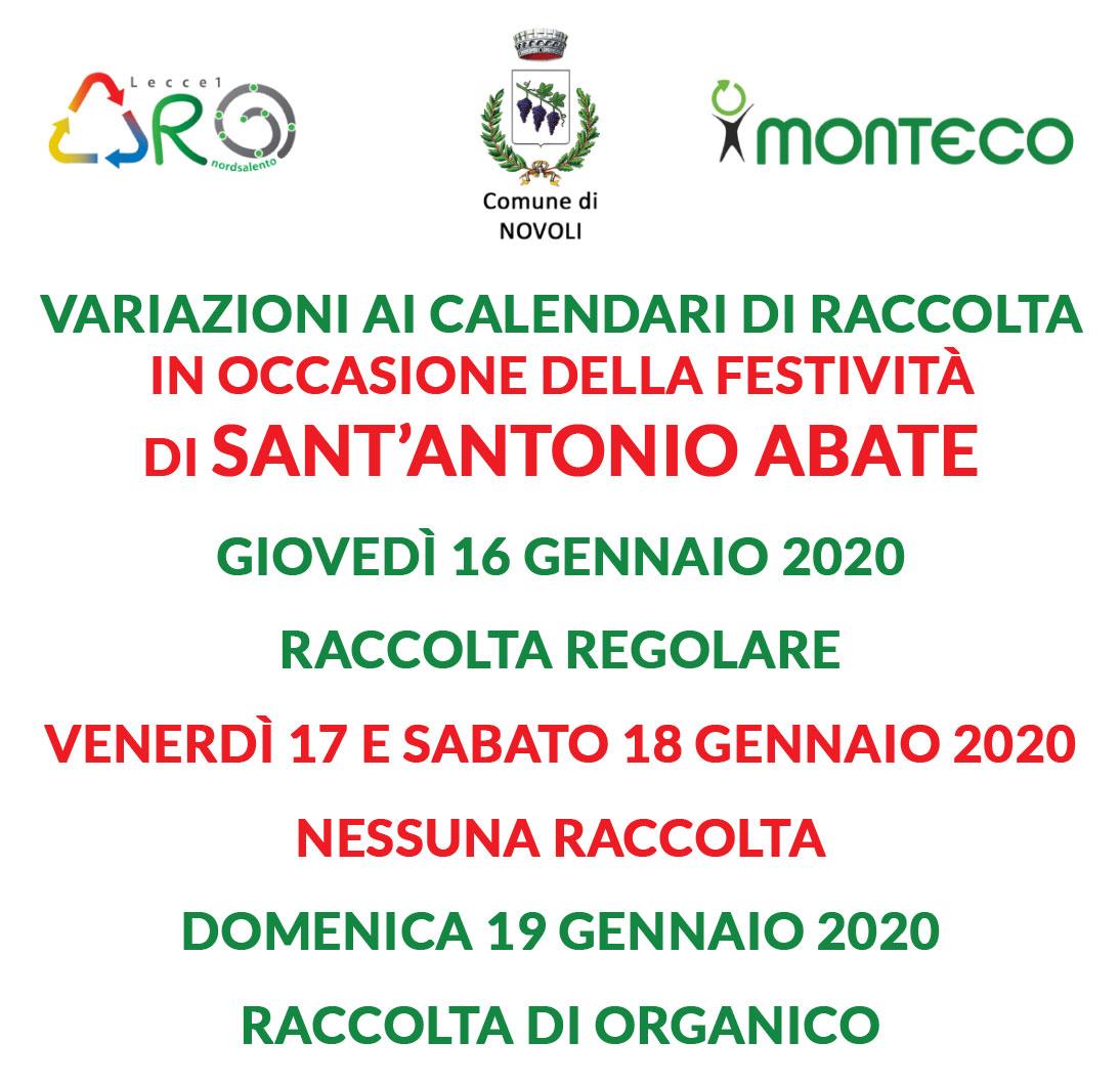 Novoli, Festività Sant'Antonio Abate del 16-17-18 gennaio 2020 – variazione calendario raccolta -