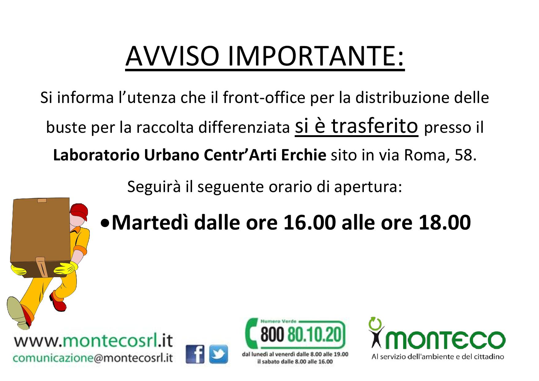 Erchie: trasferimento Front Office