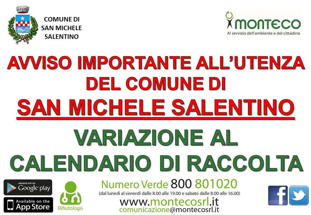 San Michele Salentino: variazione calendario di raccolta