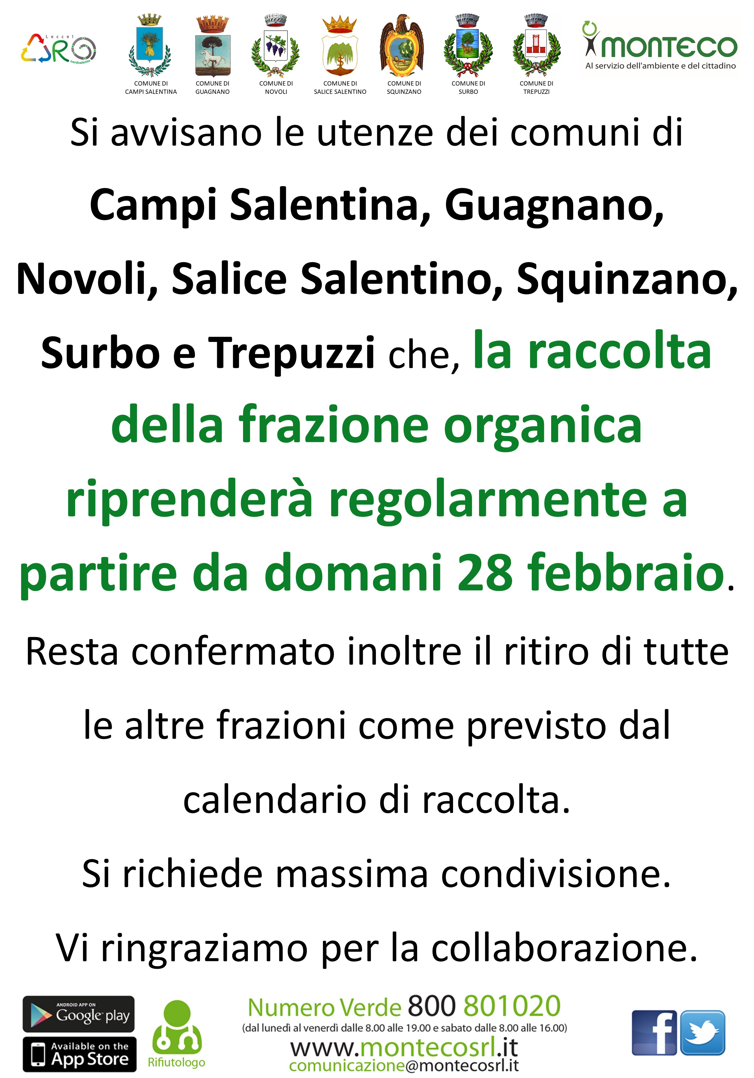 Aro Le/1: ripresa raccolta frazione organica